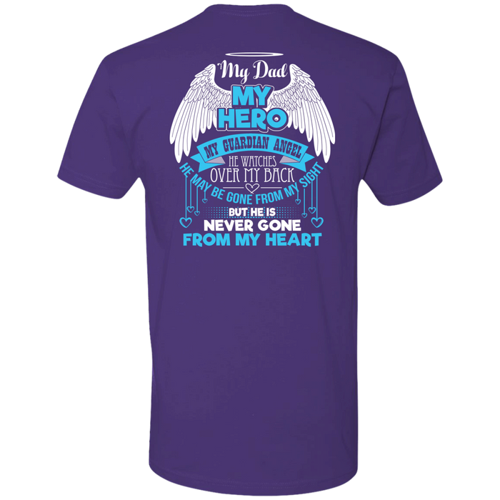 CustomCat Next Level Premium Short Sleeve Tee / Purple / X-Small My Dad - My Hero - My Guardian Angel Tshirt
