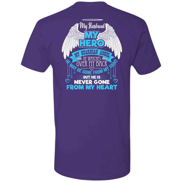 CustomCat Next Level Premium Short Sleeve Tee / Purple / X-Small My Husband - My Hero - My Guardian Angel Tshirt