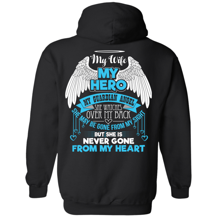 CustomCat Pullover Hoodie 8 oz / Black / Small My Wife - My Hero - My Guardian Angel Tshirt