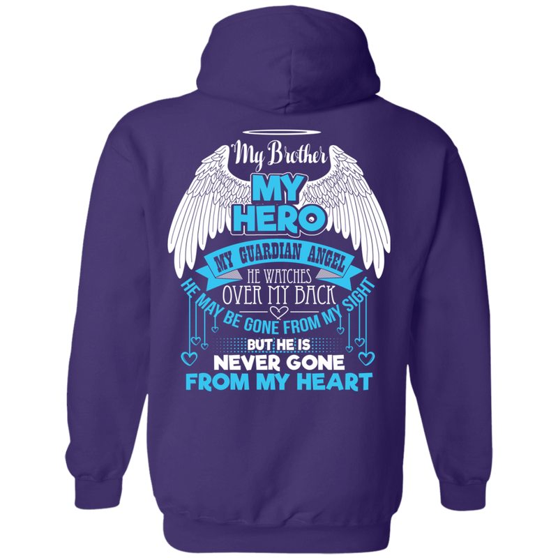 CustomCat Pullover Hoodie 8 oz / Purple / Small My Brother - My Hero - My Guardian Angel Tshirt