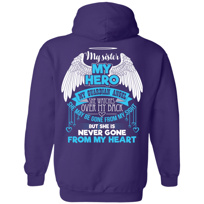 CustomCat Pullover Hoodie 8 oz / Purple / Small My Sister - My Hero - My Guardian Angel Tshirt