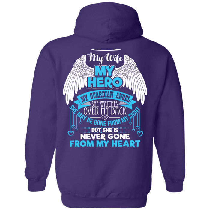 CustomCat Pullover Hoodie 8 oz / Purple / Small My Wife - My Hero - My Guardian Angel Tshirt