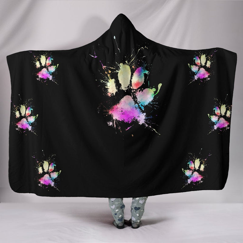 Cute Multicolor Dog Paw Hooded Planket interestprint