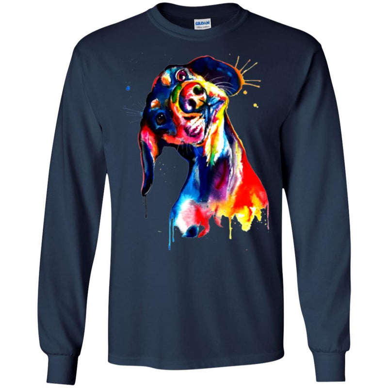 Dachshund Watercolor Funny Gift Lover Dog Tee Shirt CustomCat