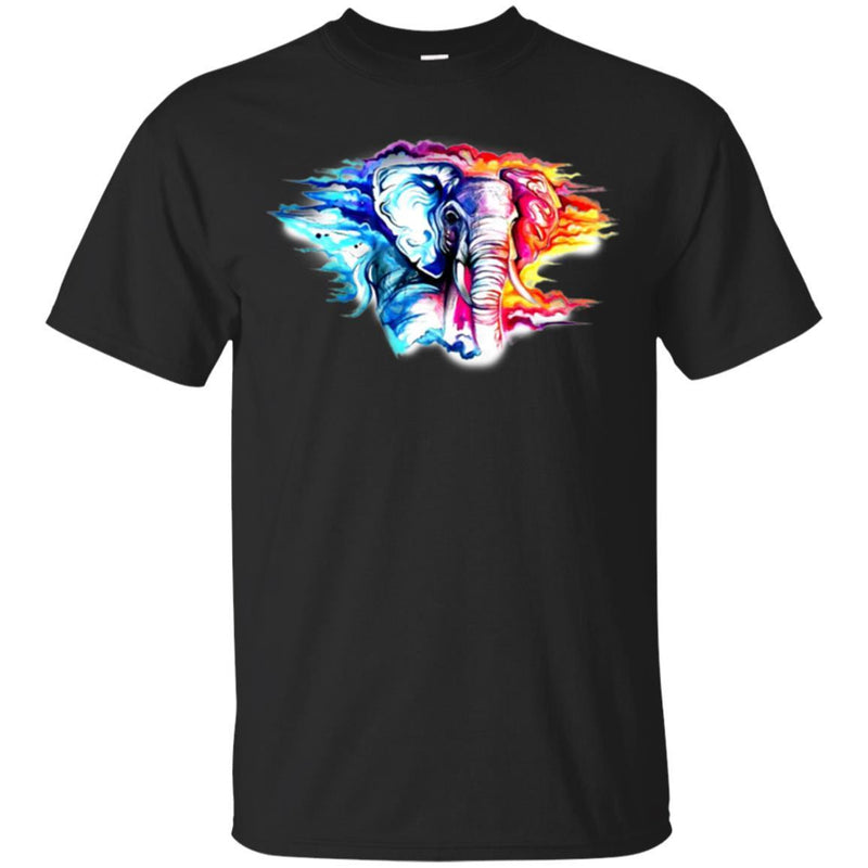 Elephant T-Shirt Colorful Elephant In Wild Hot And Cold Elephant Tee Shirt CustomCat