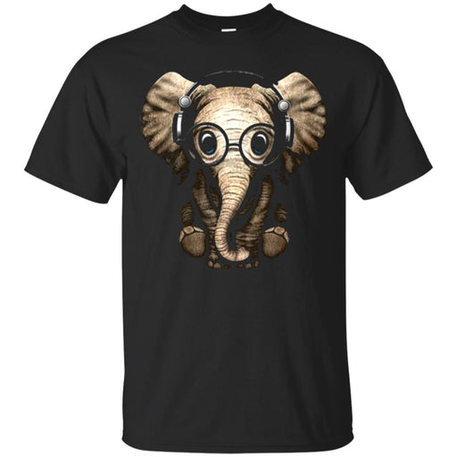 Elephant T-Shirt Cute Baby Elephant With Headphone Glasses Sitting Elephant Tee Shirt CustomCat