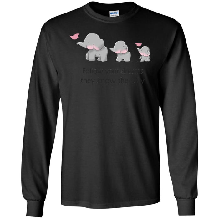 Elephant T-Shirt Cute Elephant Follow Your Dreams They Know The Way Triad Elephant Tee Shirt CustomCat