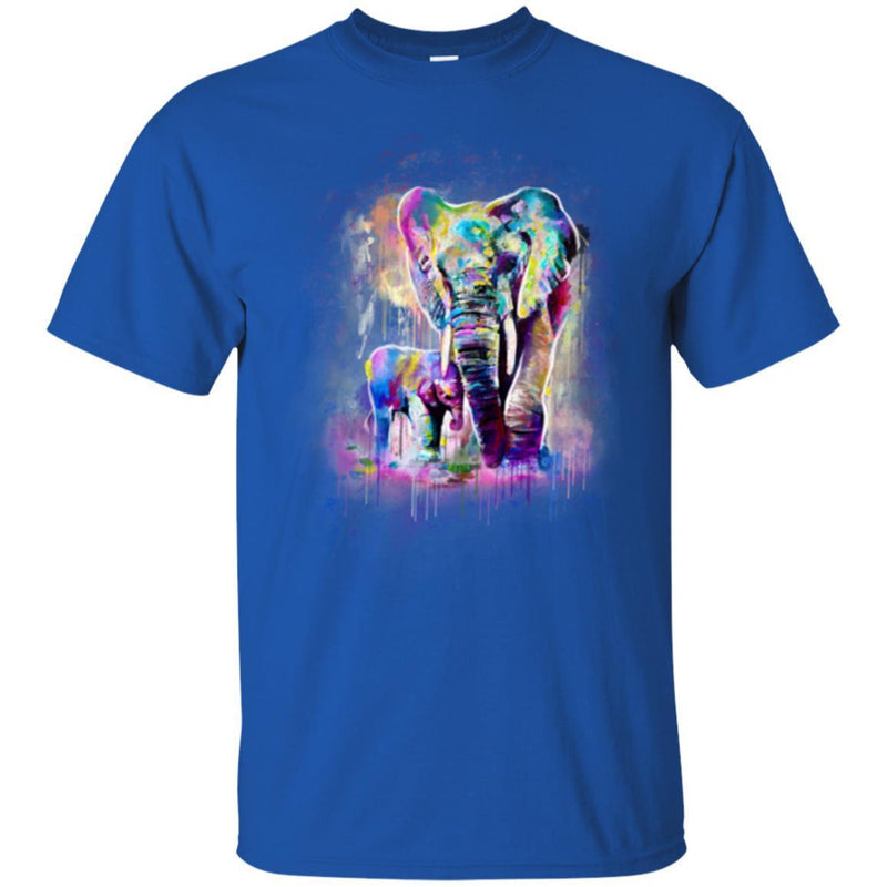Elephant T-Shirt Elephant And Baby Walking In WIld Father And Son Elephant Cute Tee Shirt CustomCat
