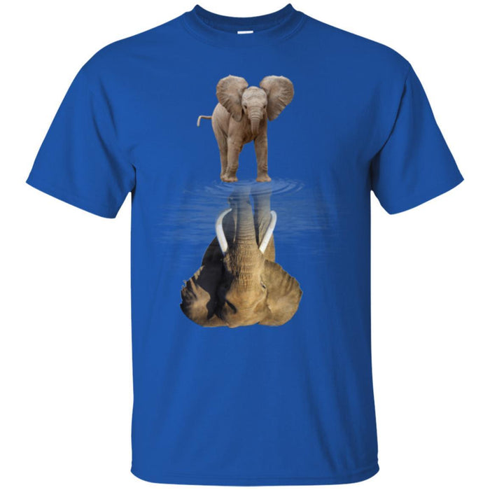 Elephant T-Shirt Elephant Baby Elephant Mature Elephant Water Surface Mammoth Fiction Tee Shirt CustomCat