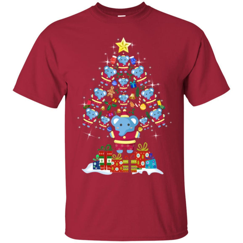 Elephant T-Shirt Elephant On Christmas Tree Led Light Bell Blue Elephant Gift Tee Shirt CustomCat