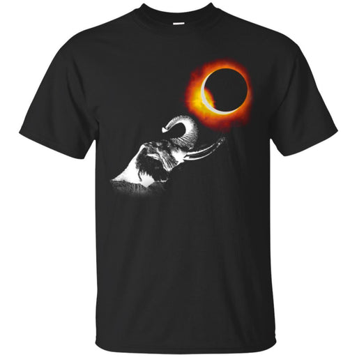 Elephant T-Shirt Elephant Watching Eclipse Moon Over The Sun Dark Night Elephant Gift Tee Shirt CustomCat