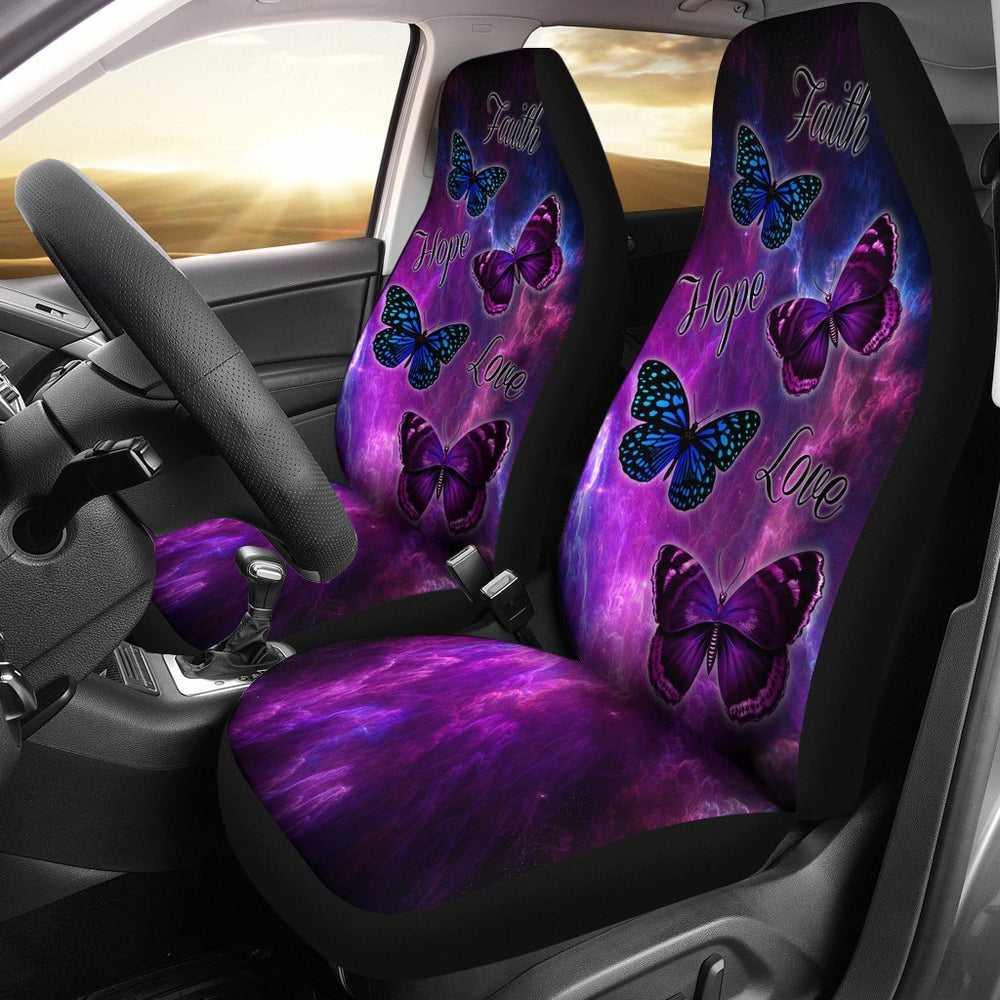 Faith Hope Love 4 Butterflies Car Seat Covers Set Of 2 My Soul and Spirit