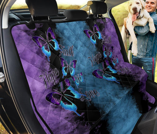 Faith Hope Love Butterflies Pet Car Seat Cover My Soul and Spirit
