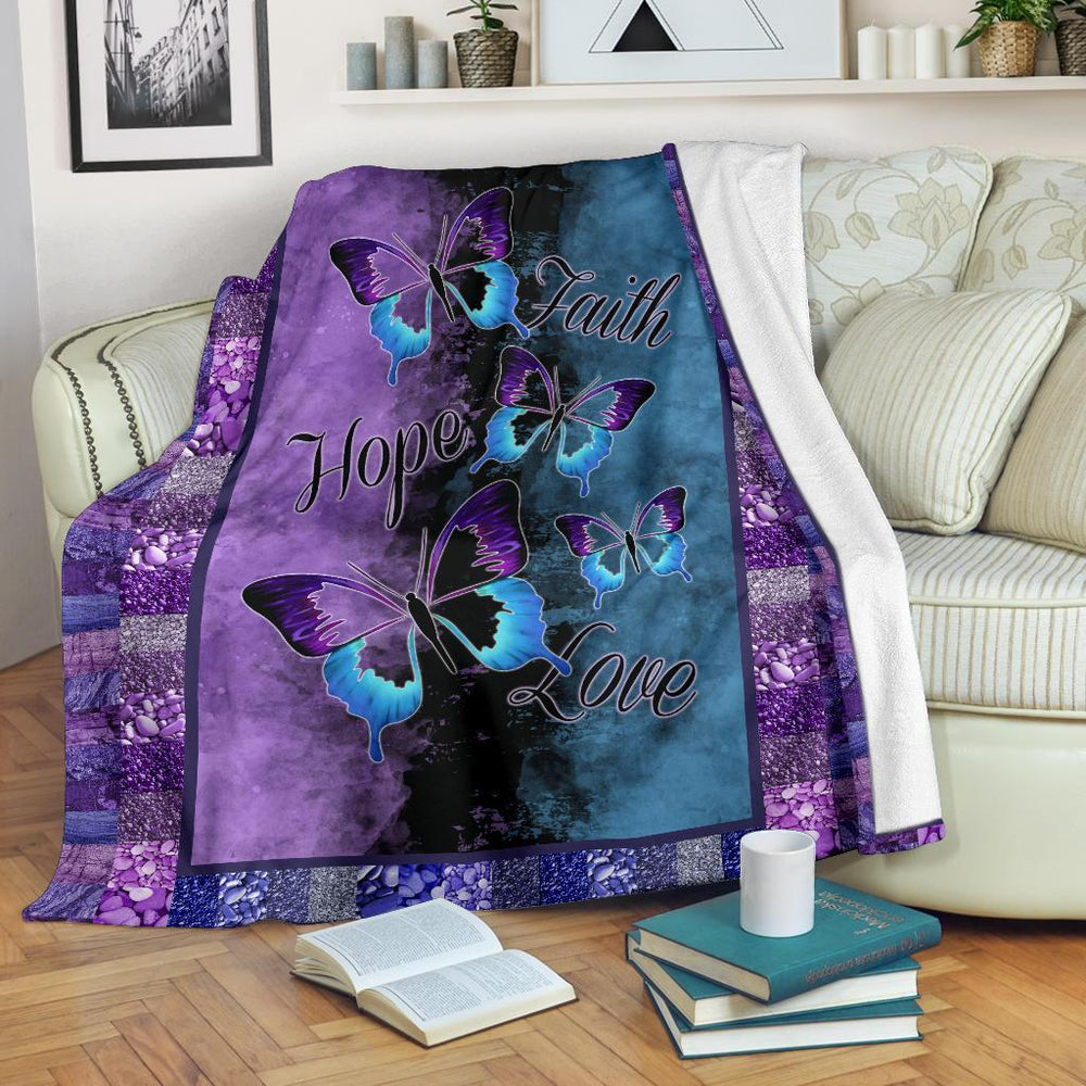 Faith Hope Love Butterflies Purple Blue Blanket My Soul and Spirit