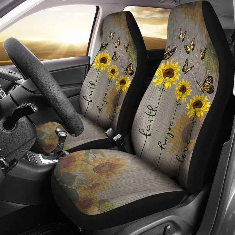 Faith Hope Love Butterfly Sunflower Car Seat Covers (Set of 2) interestprint