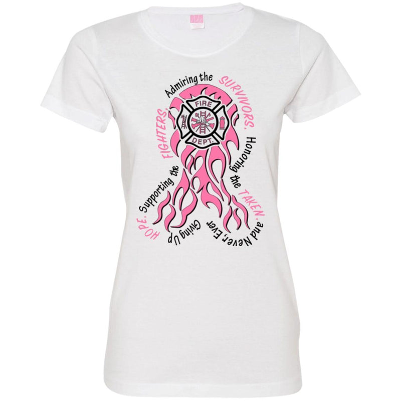 Firefighter Breast Cancer Awareness Pink Ribbon Gift Female Tee Shirt CustomCat