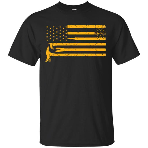 Firefighter T-Shirt Distressed Firefighter And Nurse American Flag USA Tee Shirt CustomCat