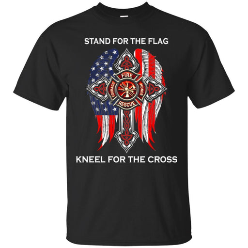 Firefighter T-Shirt Stand For The Flag Kneel For Wings The Cross Courage Honor RescueTee Shirt CustomCat