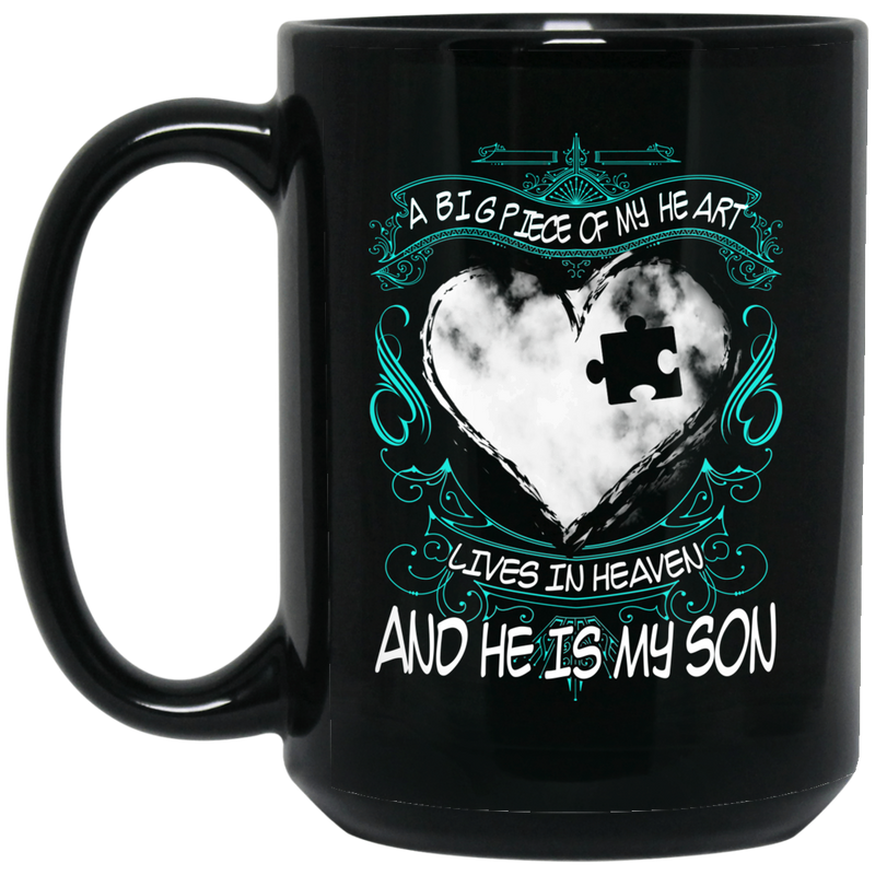Guardian Angel Coffee Mug A Big Piece Of My Heart Lives In Heaven And He Is My Son 11oz - 15oz Black Mug
