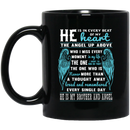 Guardian Angel Coffee Mug He Is In Every Beat Of My Heart He Is My Brother And Angel Wings 11oz - 15oz Black Mug