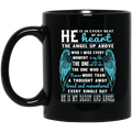 Guardian Angel Coffee Mug He Is In Every Beat Of My Heart He Is My Daddy And Angel Wings 11oz - 15oz Black Mug CustomCat