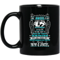 Guardian Angel Coffee Mug He Is In Every Beat Of My Heart He Is My Papa And Angel Wings 11oz - 15oz Black Mug CustomCat
