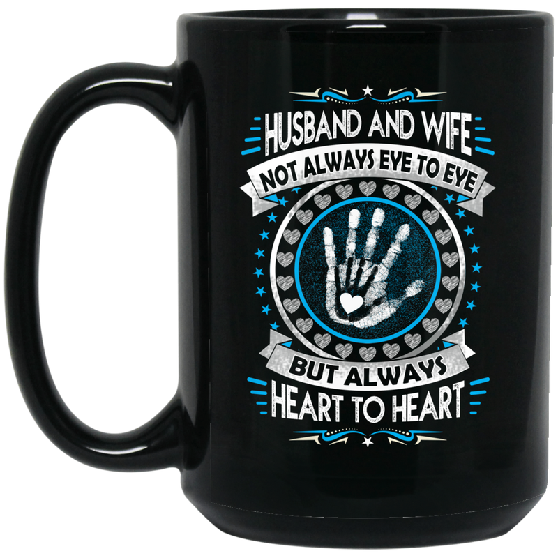 Guardian Angel Coffee Mug Husband And Wife Not Always Eye To Eye But Always Heart To Heart 11oz - 15oz Black Mug CustomCat