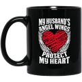 Guardian Angel Coffee Mug My Husband's Angel Wings Protect My Heart 11oz - 15oz Black Mug CustomCat