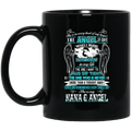 Guardian Angel Coffee Mug She Is In Every Beat Of My Heart She Is My Nana And Angel Wings 11oz - 15oz Black Mug CustomCat