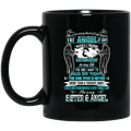 Guardian Angel Coffee Mug She Is In Every Beat Of My Heart She  Is My Sister And Angel Wings 11oz - 15oz Black Mug CustomCat