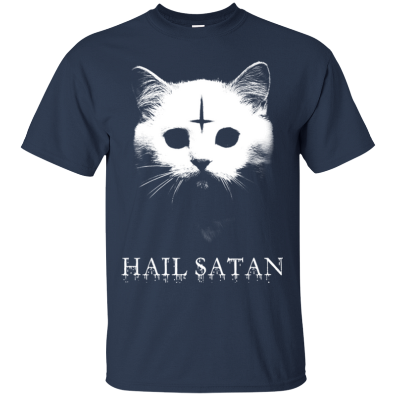 Hail satan cat funny T-shirts CustomCat