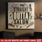 Hairstylist Canvas - Hairdressing Tools Around Straight Outta Salon Quote Canvas Wall Art Decor