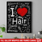 Hairstylist Canvas - I Love Hair With Scissors Comb & Hairdressing Tools Pattern Canvas Wall Art Decor