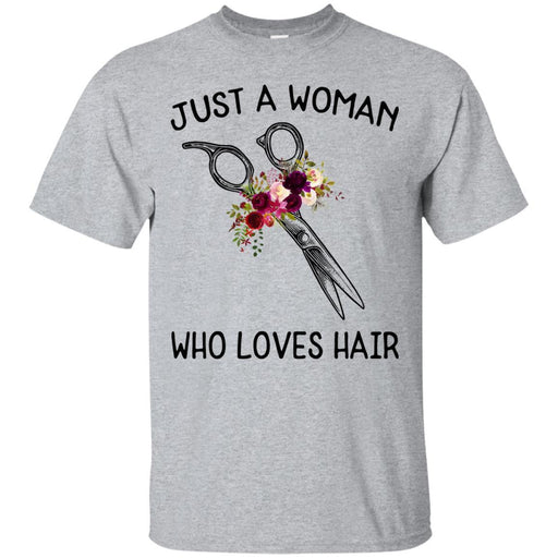 Hairstylist T-Shirt Just A Woman Who Loves Hair Flowers Shirts CustomCat