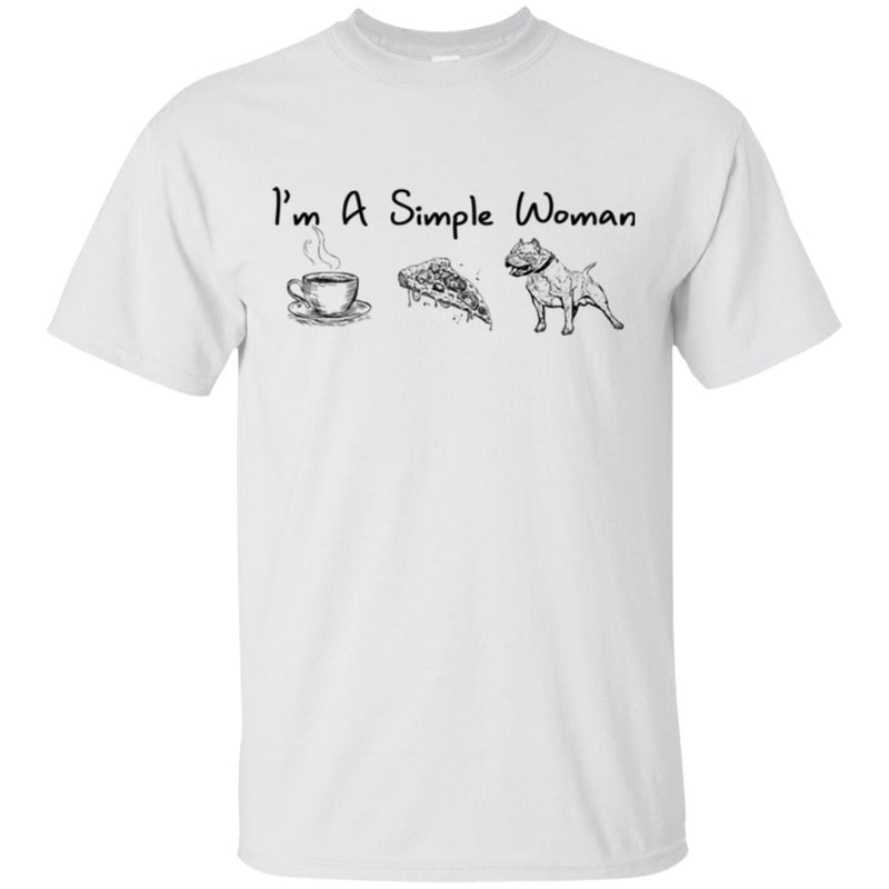 I'm A Simple Woman Coffee Pizza Pitbull Funny Gift Lover Dog Tee Shirt CustomCat