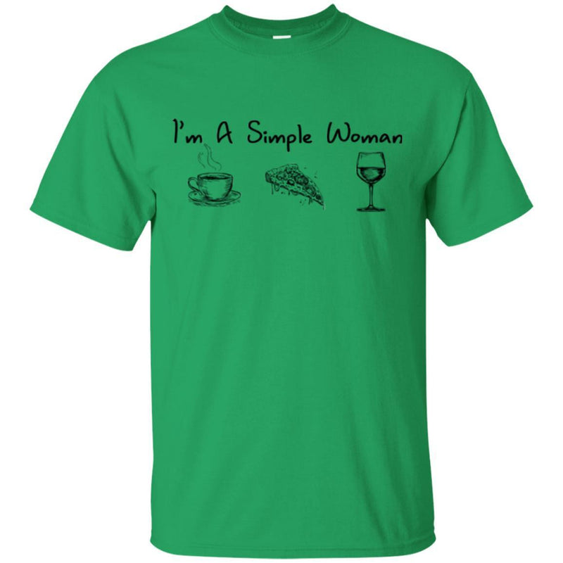 I'm A Simple Woman Coffee Pizza Wine Funny Gifts Wine Lover Shirts CustomCat