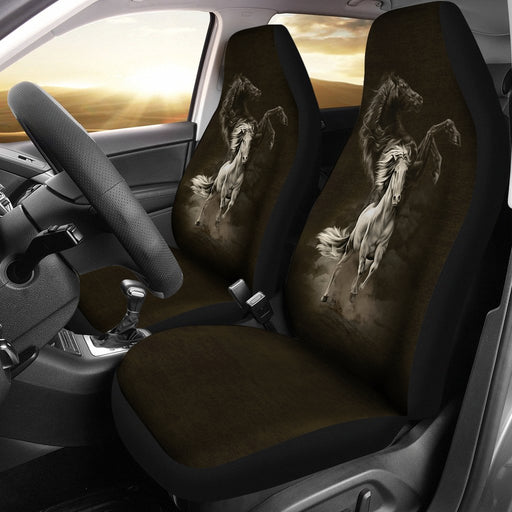 Inspirational Black And White Horse Car Seat Covers (Set Of 2) My Soul & Spirit