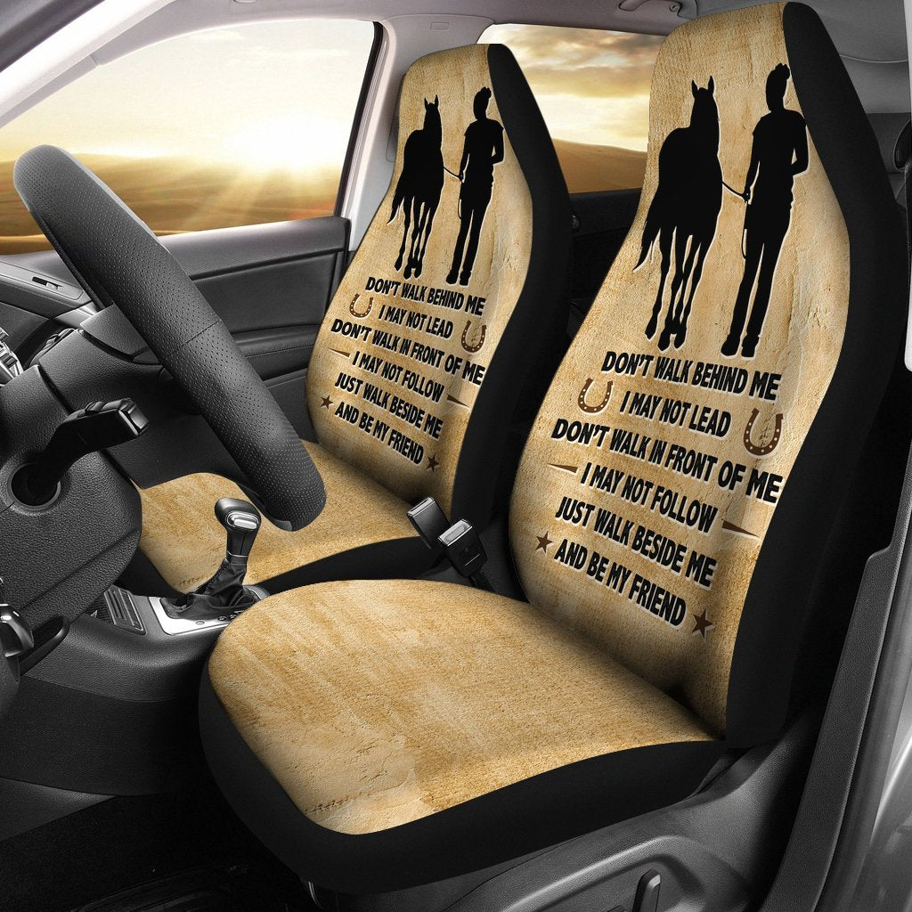 Inspirational Friendship Saying Of Horse And Women Car Seat Covers Set 2 My