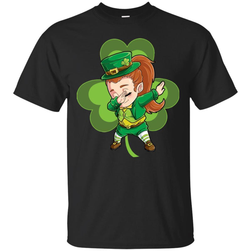 Irish Girl Dabbing Shamrock Funny Gifts Patrick's Day T-Shirt CustomCat