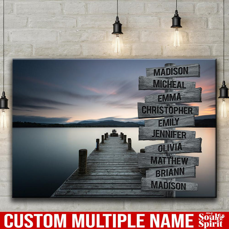 Lake Dock Multi Names Premium Canvas Crossroads Personalized Canvas Wall Art - Family Street Sign Family Name Art Canvas For Home Decor Custom Canvas Family - CANLA75 - CustomCat