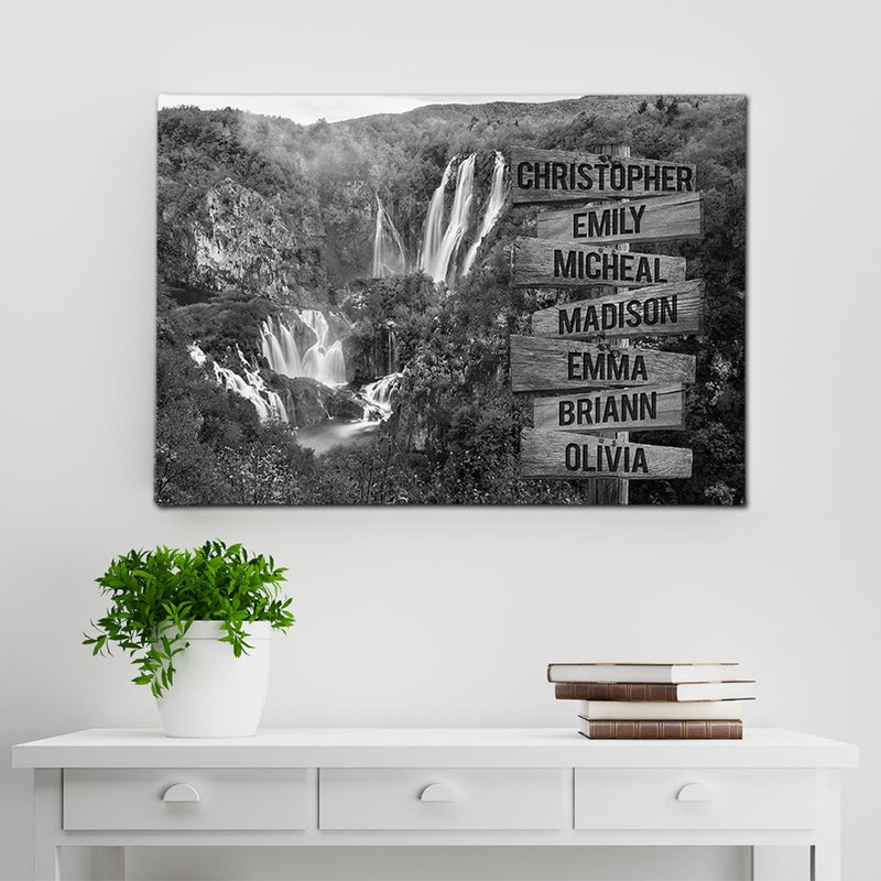 Lakes Waterfalls Multi Names Premium Canvas Crossroads Personalized Canvas Wall Art Black And White, Family Street Sign Family Name Art Family - CANLA75 - CustomCat