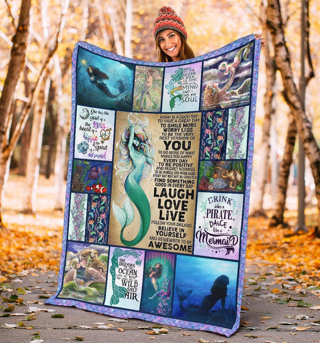 Laugh Love Live Believe In Yourself And Remember To Be Awesome Mermaid Blanket My Soul And Spirit