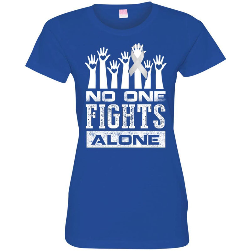 Lung Cancer Awareness T Shirt No One Fights Alone Shirts CustomCat