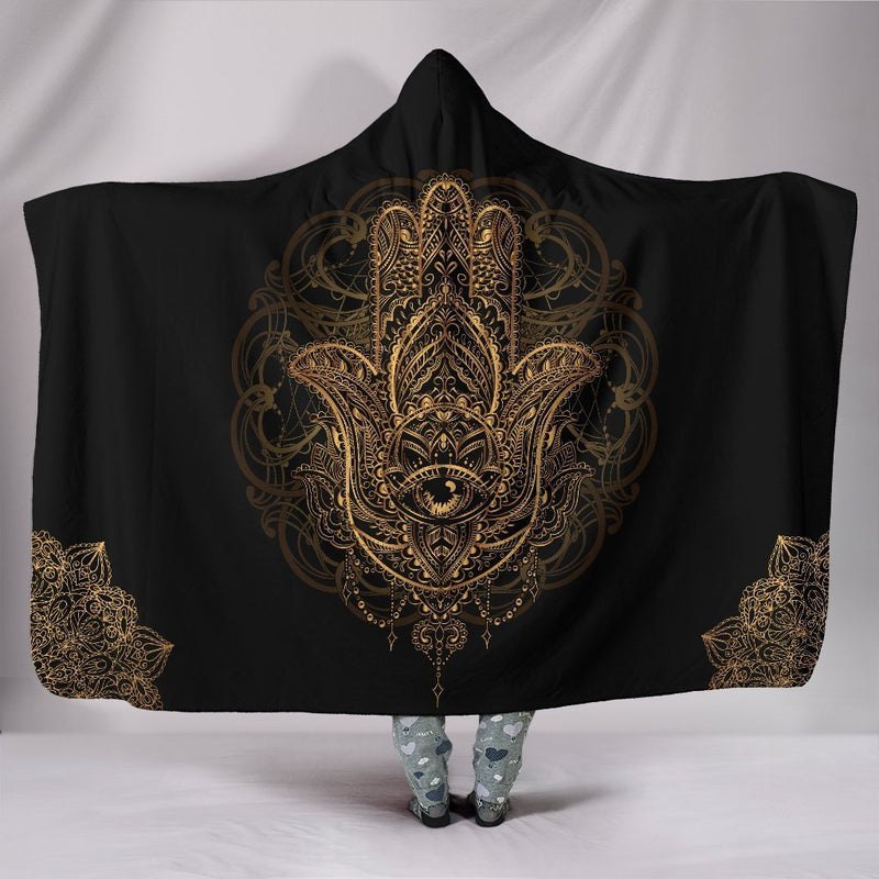 Meaningful Protection Of Hamsa Hand Hooded Blanket interestprint