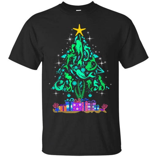 Mermaid T-Shirt Christmas Tree Is Made Of Floating To The Star Mermaids  For Christmas Tee Gifts CustomCat