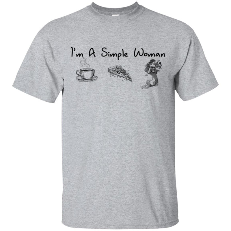 Mermaid T-Shirt I'm A Simple Woman Coffee Pizza Mermaid For Funny Gifts Tee Shirt CustomCat
