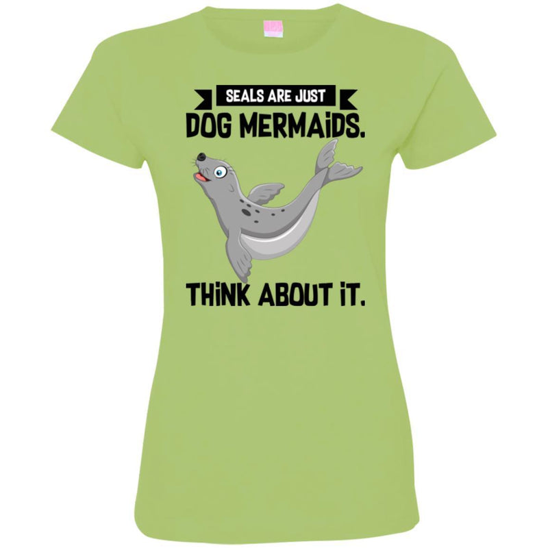 Mermaid T-Shirt Seals Are Just Dog Mermaids Think About It For Birthday Gifts Tee Shirt CustomCat