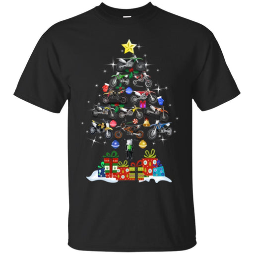 Motocross T Shirt Merry Christmas Motocross Tree Funny Gifts T Shirts CustomCat