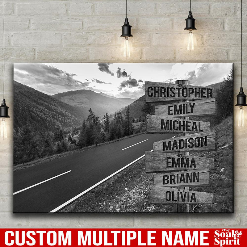 Mountain Range Road Multi Names Premium Canvas Crossroads Personalized Canvas Wall Art Black And White, Family Street Sign Family Name Art Family - CANLA75 - CustomCat