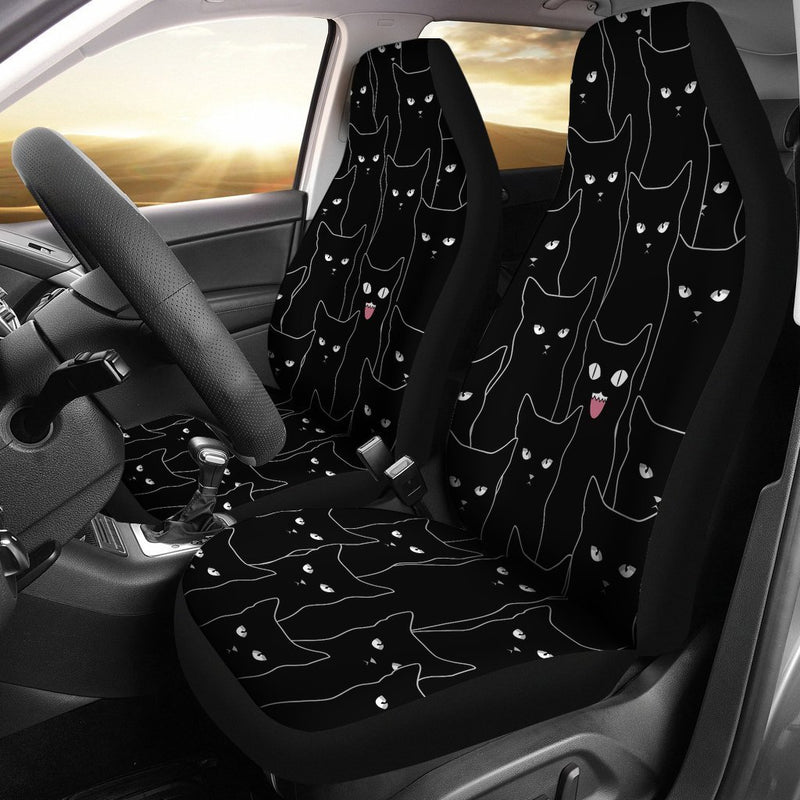 Multi Black Cats Car Seat Covers (Set Of 2) interestprint
